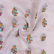 Gray Peach and Cyan Embroidery Organza Silk Fabric-51633