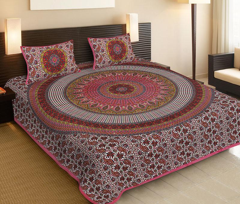 Gray Pink Cotton Jaipuri Bedsheet-543