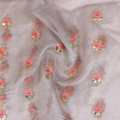 Gray Pink Embroidery Organza Silk Fabric-51632