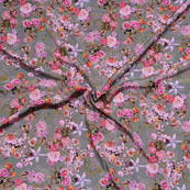 Gray Pink Flower Crepe Silk Fabric-18244