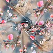 Gray Pink Flower Crepe Silk Fabric-18247