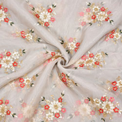 Gray Pink Flower Organza Embroidery Fabric-22259