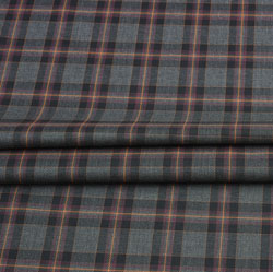 Gray Pink and Black Check Wool Fabric-90128