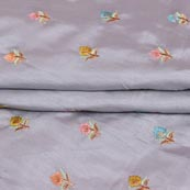 Gray Pink and Cyan Flower Chinnon Embroidery Fabric-29268