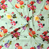 Gray Pink and Red Flower Crepe Silk Fabric-18235
