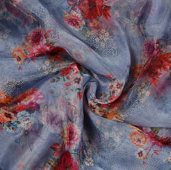Gray Pink and White Floral Organza Silk Fabric-22115