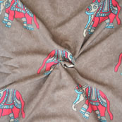 Gray Pink and blue Elephant Crepe Silk Fabric-18213