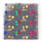 Gray Red and Blue Polka Net Fabric-60967