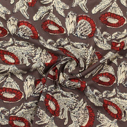 Gray Red Block Print Cotton Fabric-16031
