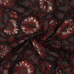 Gray Red Block Print Cotton Fabric-16072