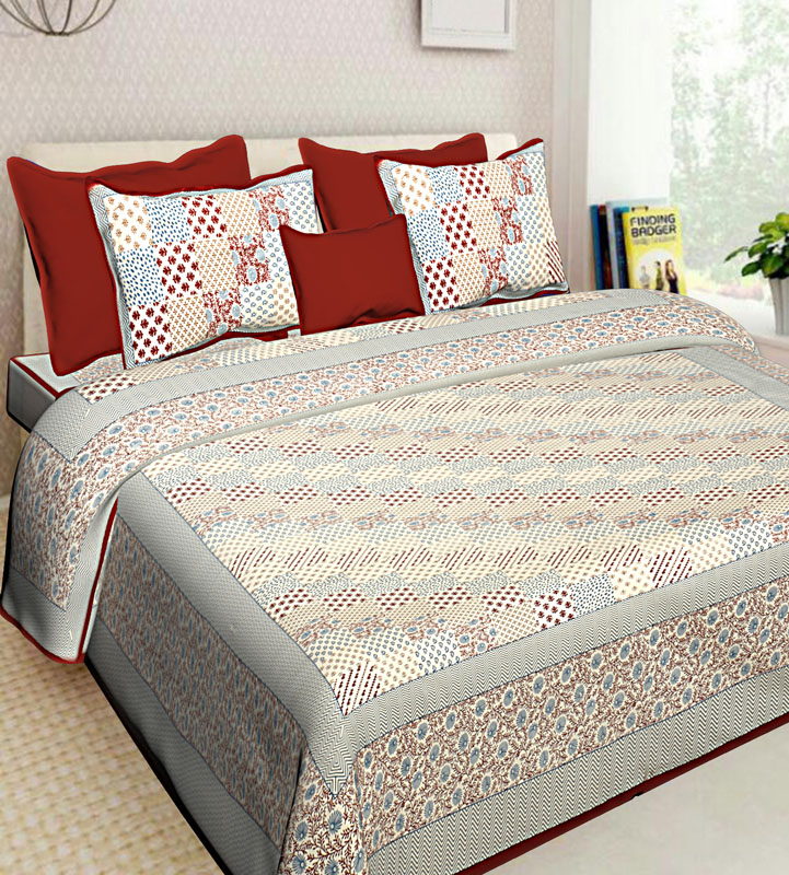 Gray Red Cotton Jaipuri Bedsheet-556