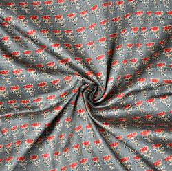 Gray Red Floral Cotton Fabric-28605