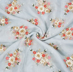 Gray Red Flower Organza Embroidery Fabric-22258