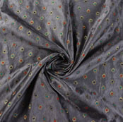 Gray Red and Blue Floral Satin Brocade Silk Fabric-9479