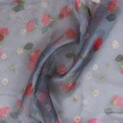 Gray Red and Green Digital Organza Silk Fabric-51653