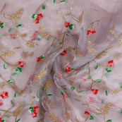 Gray Red and Green Embroidery Organza Silk Fabric-51641