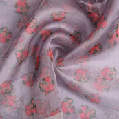 Gray-Red and Green Flower Digital Organza Fabric-51233