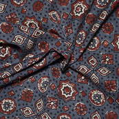 Gray-Red and White Flower Design Ajrakh Block Print Fabric-14034