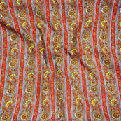 Gray Red and Yellow Block Print Cotton Fabric-14591