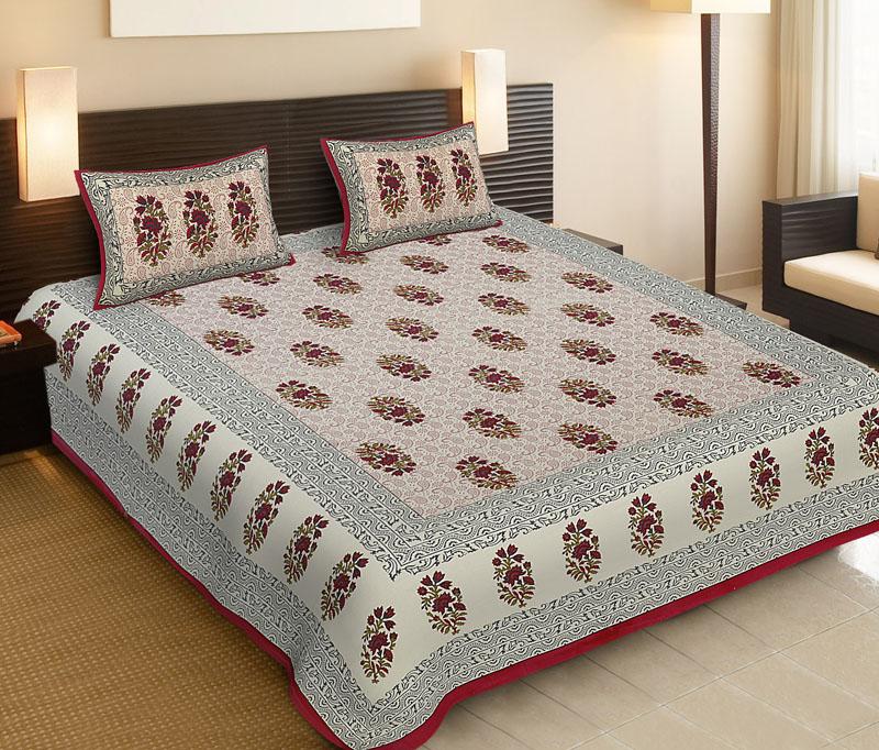 Gray Rubin Cotton Jaipuri Bedsheet-536