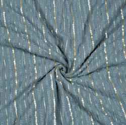 Gray Silver Polka Georgette Embroidery Silk Fabric-18929