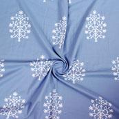 Gray White Block Print Cotton Fabric-14856