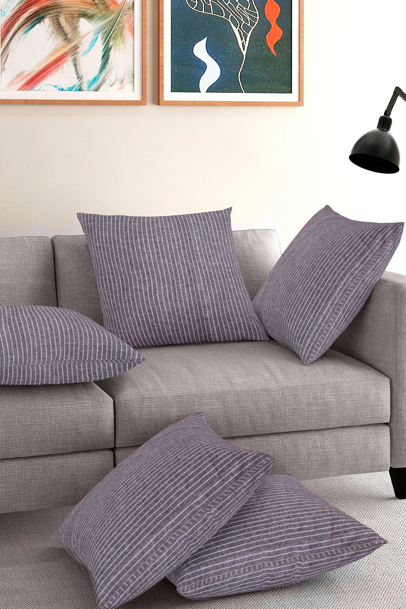 Set of 5-Gray White Cotton Cushion Cover-35393-16x16 Inches