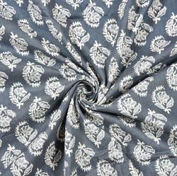 Gray White Floral Block Print Cotton Fabric-28530