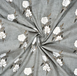 Gray White Floral Cotton Fabric-28597