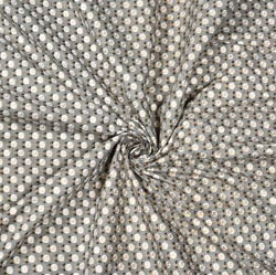 Gray White Floral Cotton Fabric-28598