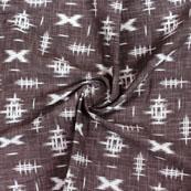 Gray White Ikat Block Print Cotton Fabric-14832
