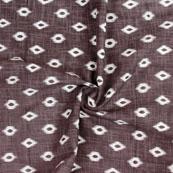 Gray White Ikat Block Print Cotton Fabric-14834