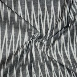 Gray White Ikat Cotton Fabric-11166