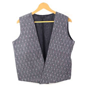 Gray White Sleeveless Ikat Cotton koti jacket-12251