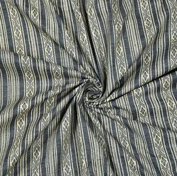 Gray White Stripe Cotton Fabric-28582