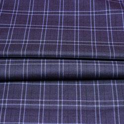 Gray White Checks Wool Fabric-90247