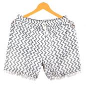 Gray White Zig-Zag Cotton Block Print Short-14662