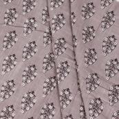 Gray-White and Black Floral Pattern Block Print Cotton Slub Fabric-14334