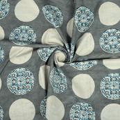 Gray-White and Blue Circular Design Cotton Block Print Fabric-14355