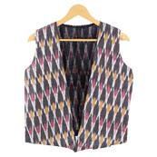 Gray White and Pink Sleeveless Ikat Cotton koti jacket-12285