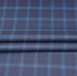 Gray White and Red Check Wool Fabric-90122