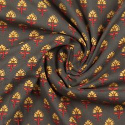 Gray Yellow Block Print Cotton Fabric-16040
