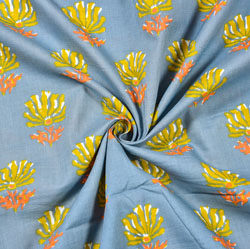 Gray Yellow Floral Block Print Cotton Fabric-28491