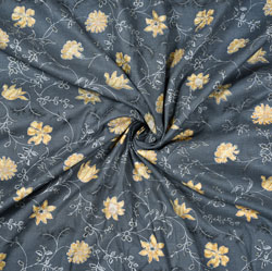 Gray Yellow Floral Cotton Fabric-28581