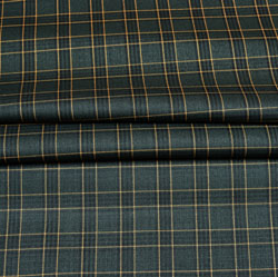 Gray Yellow Checks Wool Fabric-90256