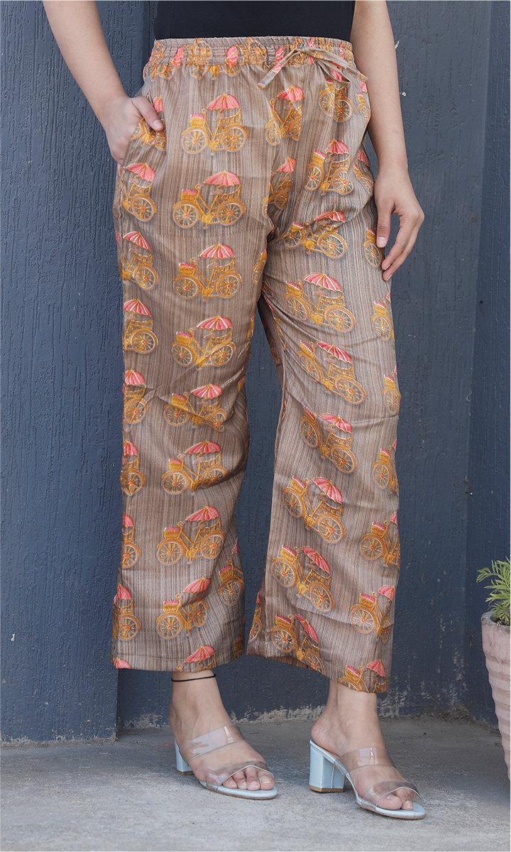 Gray Yellow and Pink Manipuri Silk Cycle Palazzo Pant-34495