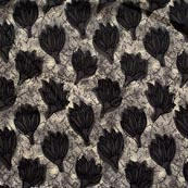 Gray and Black Flower Pattern Indian Block Print Fabric-RL4319