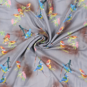 Gray and Blue Birds Silk Crepe Fabric-18134