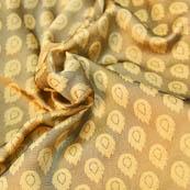 Gray and Cream Leaf Pattern Brocade Silk Fabric -8192