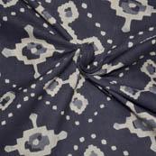 Gray and Cream Unique Pattern Block Print Cotton Fabric-14046